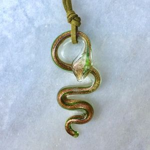Murano Italy Glass Snake Pendant Necklace